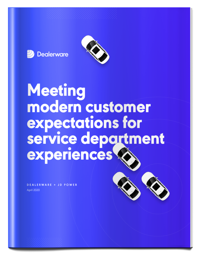 """The cover of the Dealerware + JD Power research report """"Meeting modern customer expectations for service department experiences"""""""