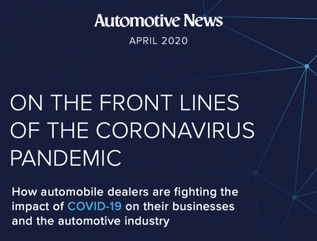 picture of cover of automotive news special report on coronavirus response.